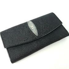 Nina Raye Genuine Stingray Skin Wallet Pebbled Clutch Black Leather Interior