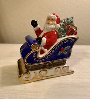 "Vintage Porcelain Santa Classic Collectibles ""Sleigh Ride"" 1996 Trinket Box"