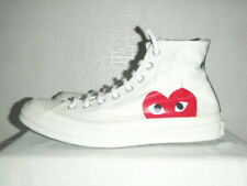 MENS WHITE CONVERSE X COMME DES GARCONS PLAY TRAINERS SIZE UK 10 EU 44. USED.