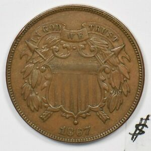 1867 Two Cents Ch AU U0208