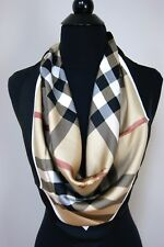 New Authentic Burberry Medium Beige Check Horseferry Black Border Silk Scarf