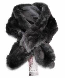 MADE IN ITALY - Luxury Grey Faux Fur Scarf Wrap Shawl Collar Neck Warm Soft