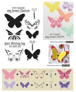 Hero Arts Butterflies Stamps - Colour Layering Butterfly, Make My Heart Flutter