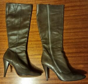 Miss Sixty Leather Knee High Boot Fawn/Stone Size 40