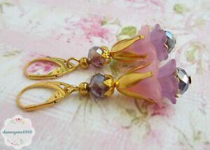 Pretty Handmade Pink purple Lucite lily flower & crystal bead earrings  #238