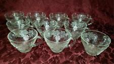 PUNCH BOWL GLASS CUPS WITH HOOKS X 10