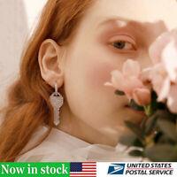 Stylish Girl Exquisite Design Sparkly Rhinestone Key Shape Earrings Jewelry Gift