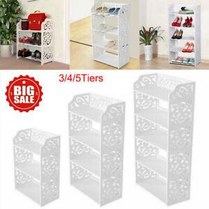 Wooden White 3/4/5 Tiers Shoe Rack Storage Shelf Display Stand Organiser Unit UK