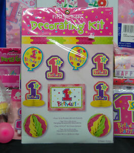 Princess 1'st Birthday Party Set # 21 Cups Hats Napkins Plates Banner Invites
