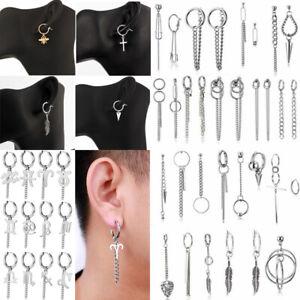 Punk Earrings Men Women Boys Stainless Steel Ear Stud Hoop Dangle Women Jewelry