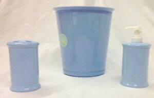 SOAP LOTION DISPENSER TOOTHBRUSH WASTE BASKET TRASH CAN BLUE BATH ACCESSORIES