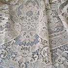 """Antique HM Ecru ITALIAN Point de Venise LACE 136"""" Tablecloth 12 Linen Napkins"""