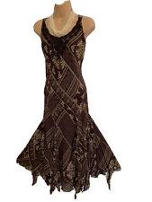 PER UNA 14 Stunning !! Brown Mix Floaty Chiffon Dress With Floaty Strands At Hem