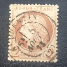 FRANCE TIMBRE TYPE CÉRÈS 2c ROUGE BRUN N° 51 CÀD SAINT QUENTIN 02 AISNE 1873
