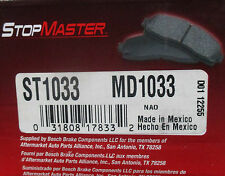 BRAND NEW STOP MASTER MD1033 / D1033 REAR BRAKE PADS FITS VEHICLES LISTED