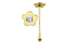 Cz Gem Nose Stud Ring Pin Bar 9Kgbn009Cl 1x 22g 6mm 9K Solid Yellow Gold Flower