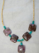 """AUTHENTIC Sugilite,Turquoise & Heishi Bead Sterling Silver Necklace 18"""""""