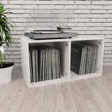 vidaXL Vinyl Storage Box High Gloss White Chipboard Recorder Case Collection