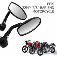 MASO 2X 22mm Motorcycle Rear View Side Mirror 7//8 Handle Bar End Motorbike Rearview Mirror Wing Side Mirror UK