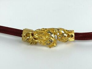 Judith Leiber Women Sz S Red Skinny Leather Belt Gold Buckle Dust Bag Auth