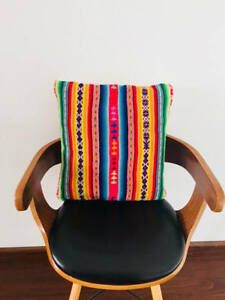 Pillow case made from recycled handmade by loom vintage Peruvian fabric PG1