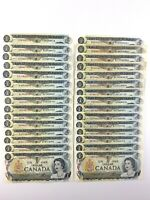 Lot of 30 1973 Canada One 1 Dollar Circulated Various Prefix Banknotes R010