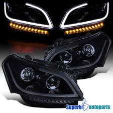 For 2010-2011 Kia Soul LED Bar Glossy Black Projector Headlights Signal