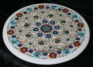 Pietra Dura Art Marble Coffee Table Top Round Sofa Table Size 21 x 21 Inches