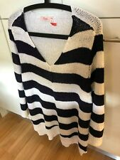 "LADIES WOVEN BLUE STRIPED WHITE STRETCH ""V"" NECK JUMPER by MILLERS Size XXL"