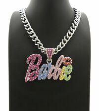 "Women's Iced Barbie Pendant Multi Stone Pendant & 18"" Cuban Link Chain Necklace"