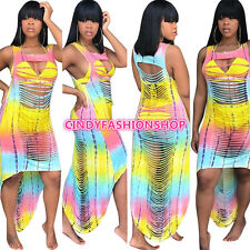 Hot Fashion Women Hollow out Bandage Beach Casual Sleeveless Print Sundress