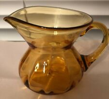 Vintage Amber Art Glass Small Pitcher 4 1/8� X 5 5/8�