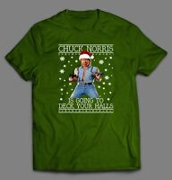 CHUCK NORRIS IS GOING TO DECK YOUR HALLS CHRISTMAS Men T-Shirt *FULL FRONT*