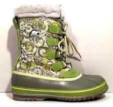 Sorel Winter Carnival Womens Boots 8 Green Rubber Waterproof Snow NL1453 368