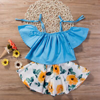 Toddler Kids Baby Girls Outfits Clothes T-shirt Tops+Floral Skirt Dress 2PCS Set