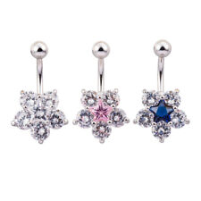 Belly Button Bar Bars Body Piercing Stainless Steel Navel Round Gem Dangle Drop