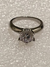 1.5CT ROUND CUT DIAMOND SOLITAIRE ENGAGEMENT RING 14K WHITE GOLD ENHANCED Size 5