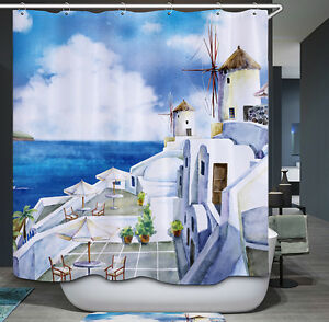 Greece Fabric Shower Curtain Greek Ocean European Romantic Travel Painting Blue