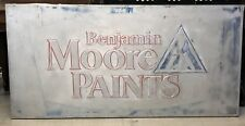 "1950's-60's Benjamin Moore Embossed Paint Store Sign 70"" X 34 3/8"" Trimmed 1 X 4"