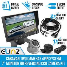 "Caravan Two Camera 4PIN System 7"" Monitor HD 12V/24V Reversing CCD Camera Kit"