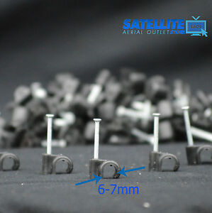 100 x 7mm BLACK ROUND CABLE CLIPS -FOR SKY SATELLITE COAX AERIAL COAXIAL