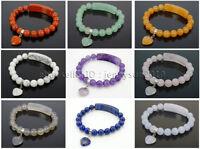 Natural Gemstone Heart Bar Round Beads Stretchy Bracelet Healing Reiki Chakra
