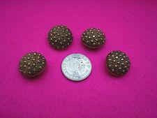 Botones Coleccionables Vintage X 4 De Plástico/Metal Color Oro Bobble Diseño Caña