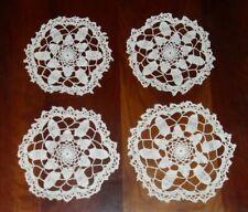 "Vintage Handmade Hand Crocheted Ecru Round Matching Doilies 7"" Doily Set of 4"
