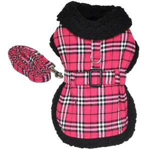 Doggie Design  Hot Pink Plaid with Black Thick Fur Collar Harness Coat  XS-2XL