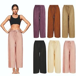 Ladies Womens 3/4 Cropped Culottes Crops Trousers Pedal Shorts Elasticated NEW