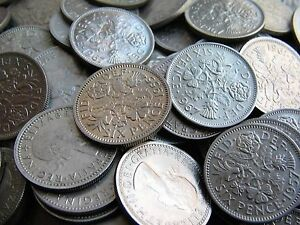 50x CHOICE EF TO UNCIRCULATED CLEAN SHINY SIXPENCES WEDDING FAVOURS WEDDING GIFT