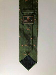 Beautiful BERETTA Woven Silk Tie Necktie Pheasants Print Green Made In Italy