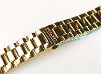 Uhrenarmband 20mm Edelstahl Vergoldet Metallband Massiv Halbrund Strap POLJOT