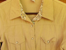 Western Blouse Cowgirl Shirt Corduroy 10-12 Womens M Top Pearl Snaps Tan WS58